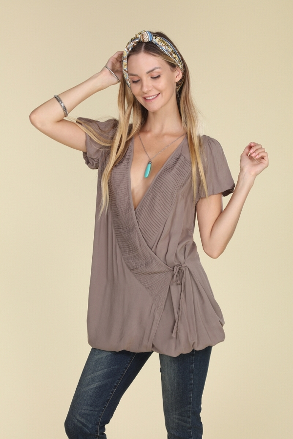 Woven Cross Over V Neck Wrap Dress with Drawstring