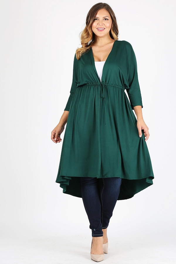 Plus Size Solid Jersey 3/4 Sleeve Waist Tie Loose Fit Cardigan