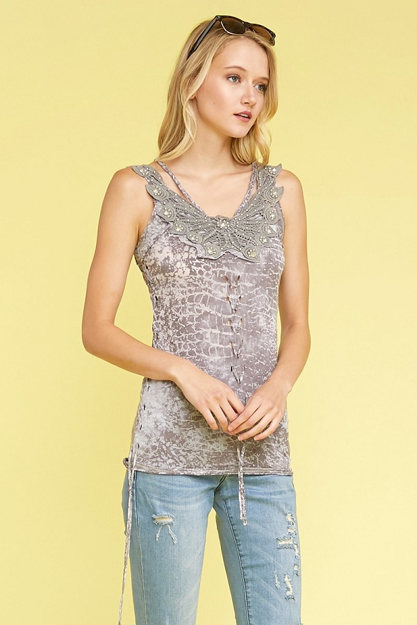 Knit Tie Dye Tank Top with Lace and Nail Head