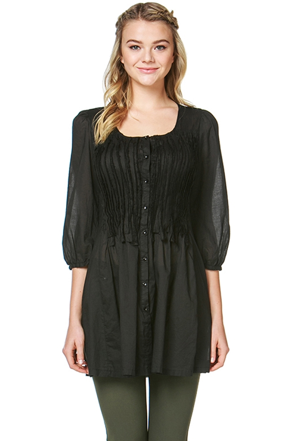 Woven Smocked Button Down Tunic Dress