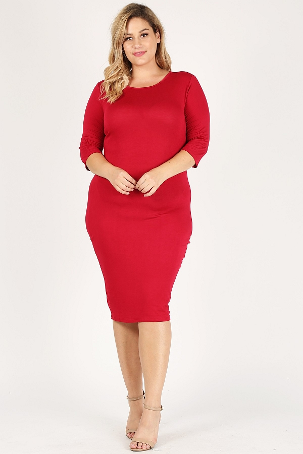 Plus size solid bodycon 3/4 length sleeve knee length midi dresses