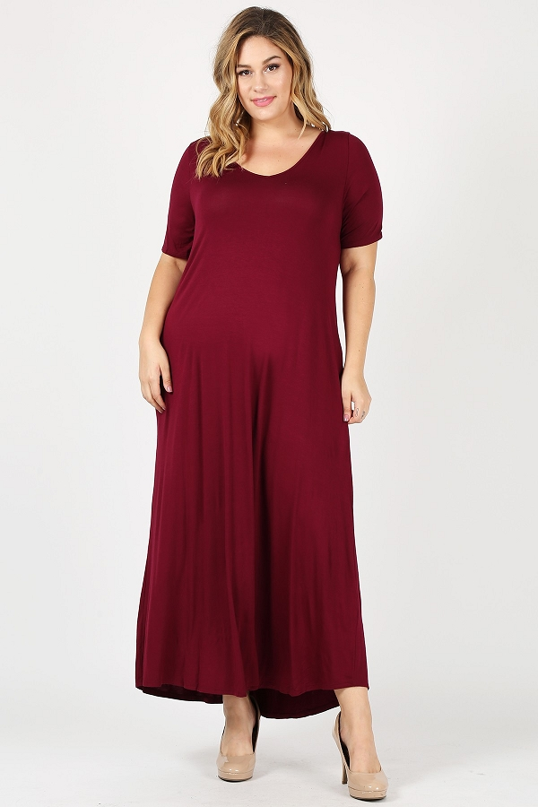 Plus Size Solid short sleeves loose fit maxi dress