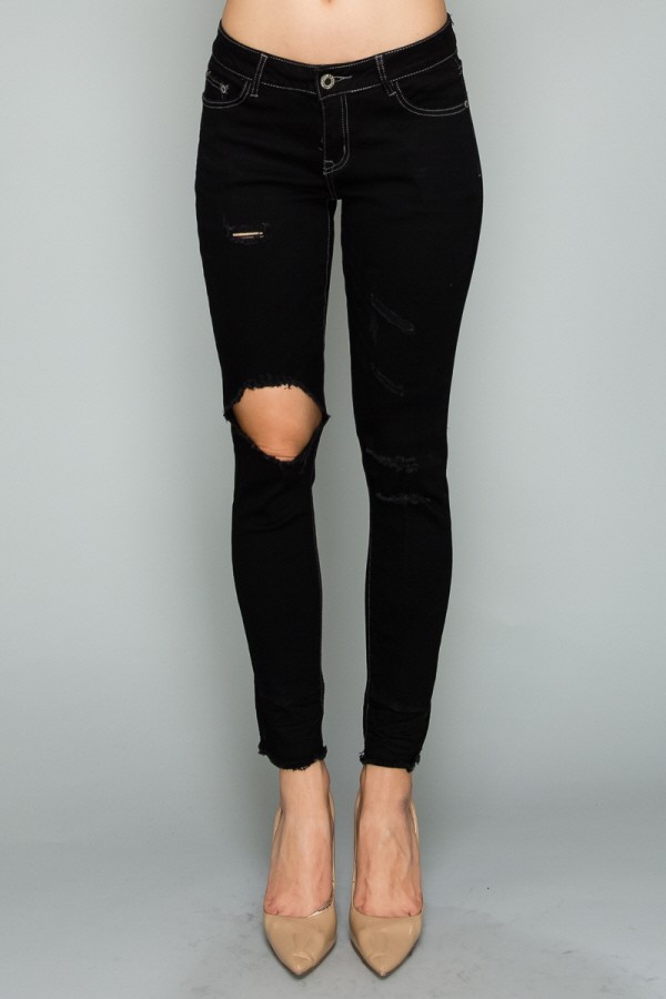 Mid Rise Ripped Skinny Cotton Denim Jeans