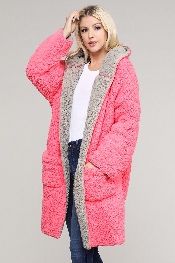 TWO TONE HOODED FAUX FUR COCOON JACKET COATS