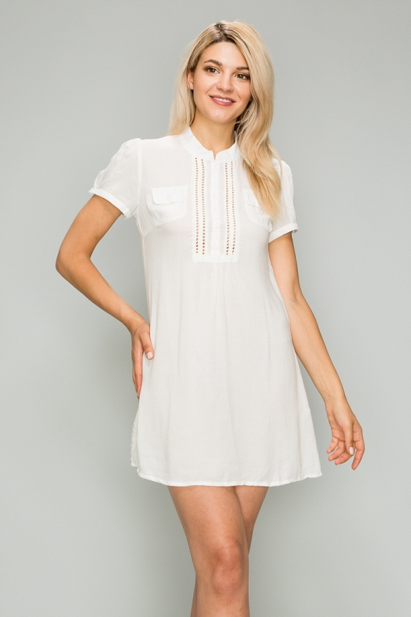 Woven Button Up Short Dress