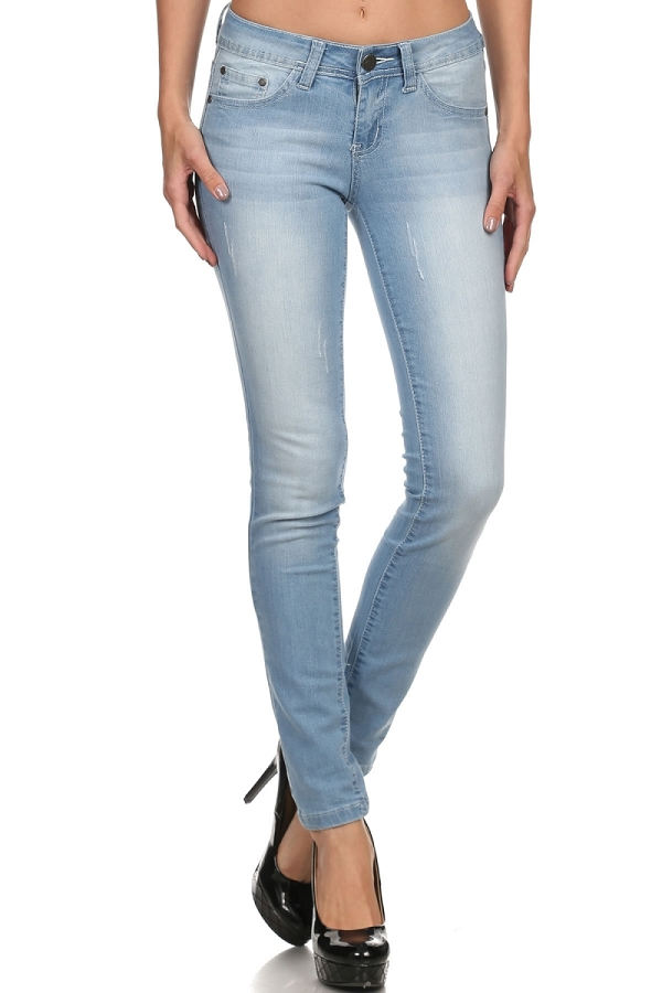 Mid Rise Ripped Stretch Skinny Cotton Denim Jeans
