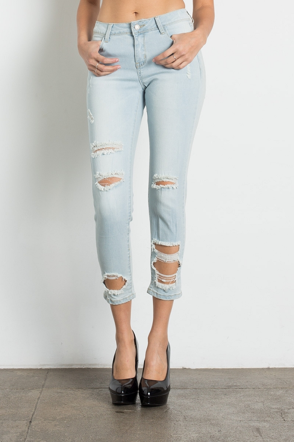 Urban Chick Mid Rise Ripped Stretch Skinny Jeans