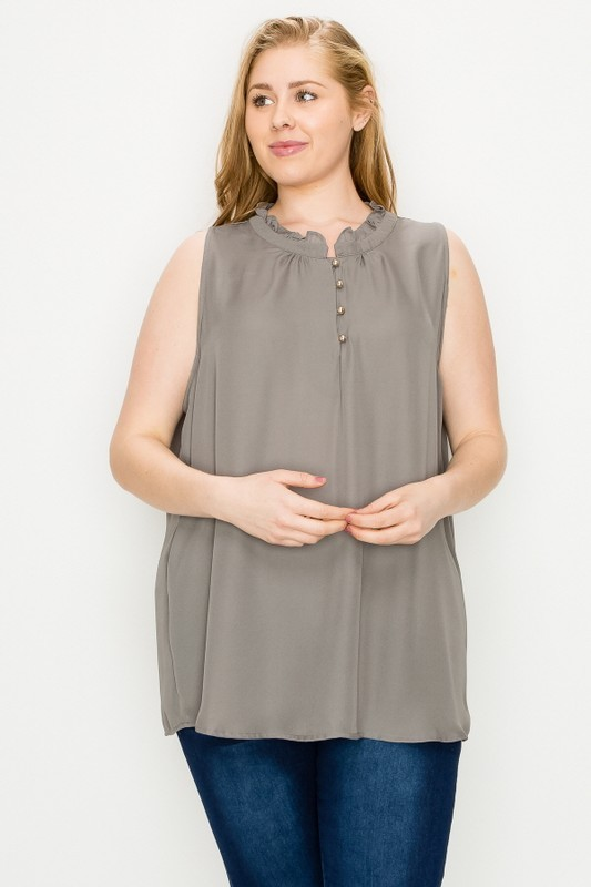 Plus Size Woven Ruffled Button-up Neckline Sleeveless Blouse Top