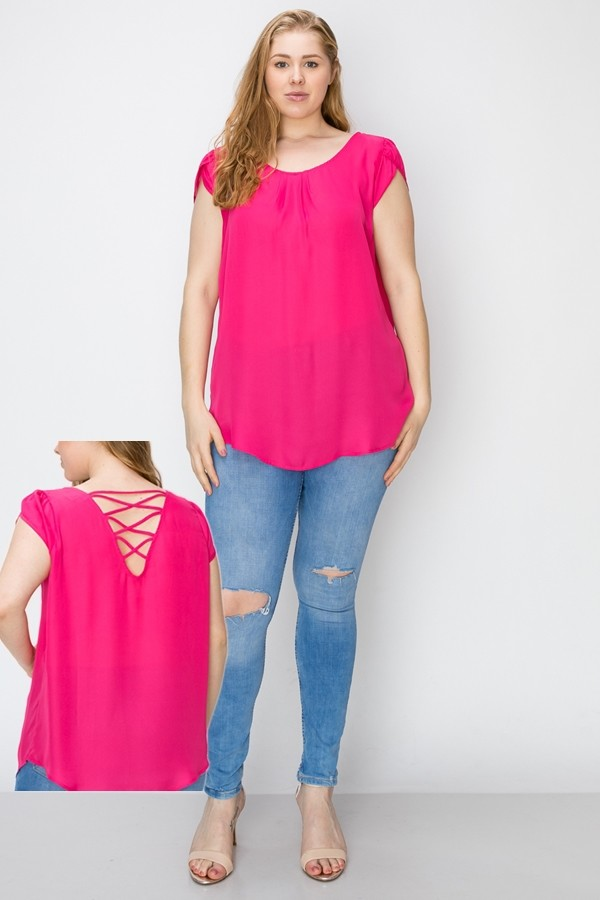 Plus Size Solid Cap Sleeve Spaghetti Back Detail Woven Top