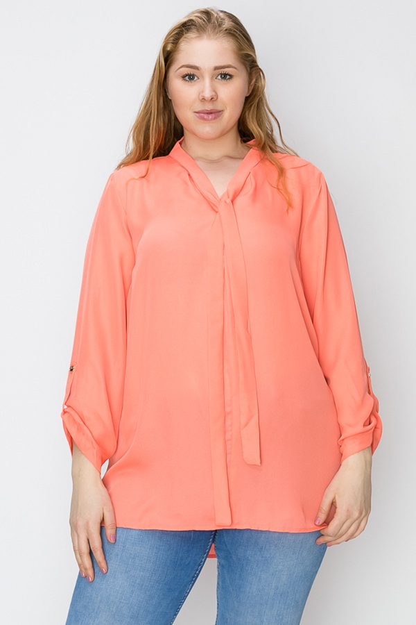 PLUS SIZE SOLID TIE NECK WOVEN BLOUSE TOP