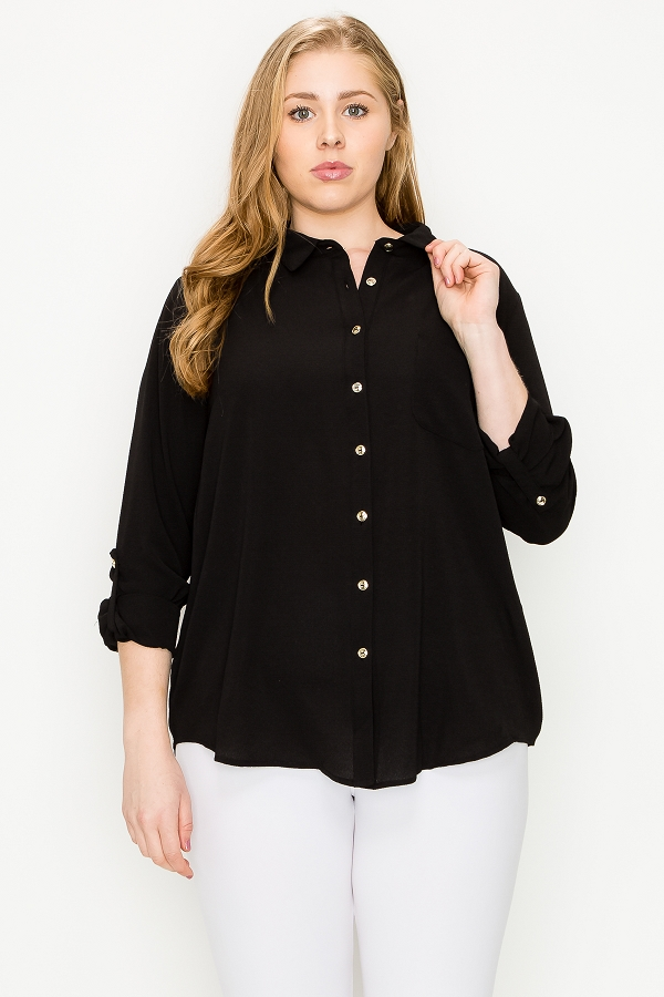 PLUS SIZE SOLID WOVEN COLLAR SHIRT BLOUSE