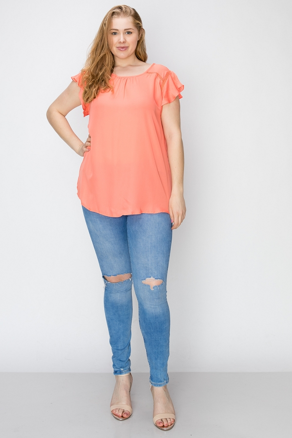 Plus Solid Woven Ruffled Short Sleeve Tunic Top