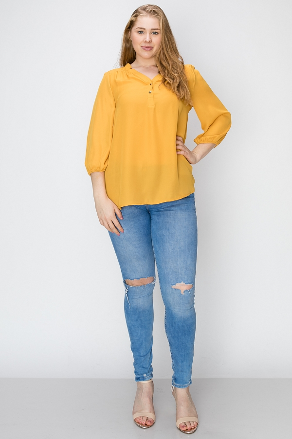 Plus Solid Woven Henley Blouse