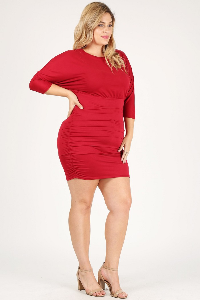 Plus Size Solid Ruched Side Bodycon Mid-Length Dolman Dress