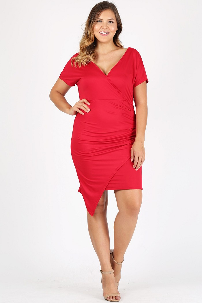 Plus Size Solid Bodycon Fit Cinched Wrap Style Asymmetric Hem Midi Dress