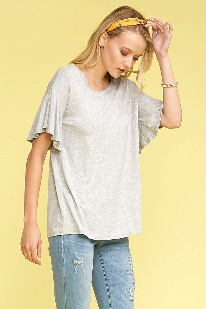 Solid Ruffled Short Sleeve Casual Top