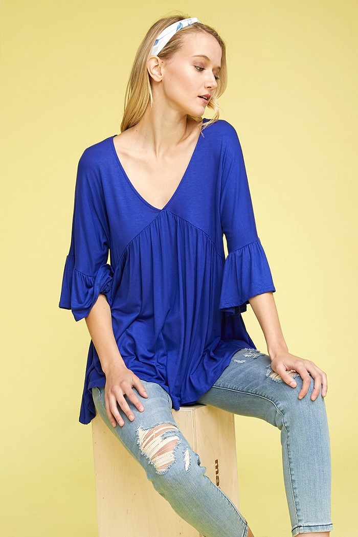 Babydoll V Neck Tiered 3/4 Flutter Sleeve Loose Fit Knit Tunic Top