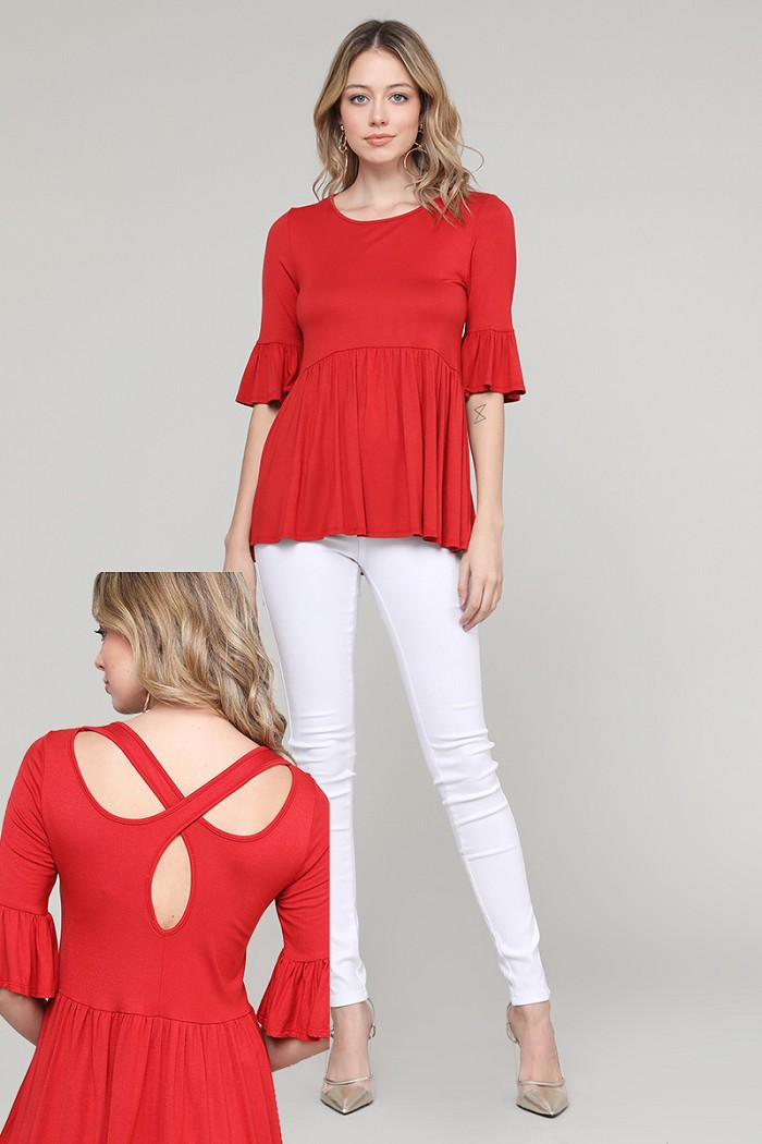 Solid Gathered Ruffled Knit Tunic Top