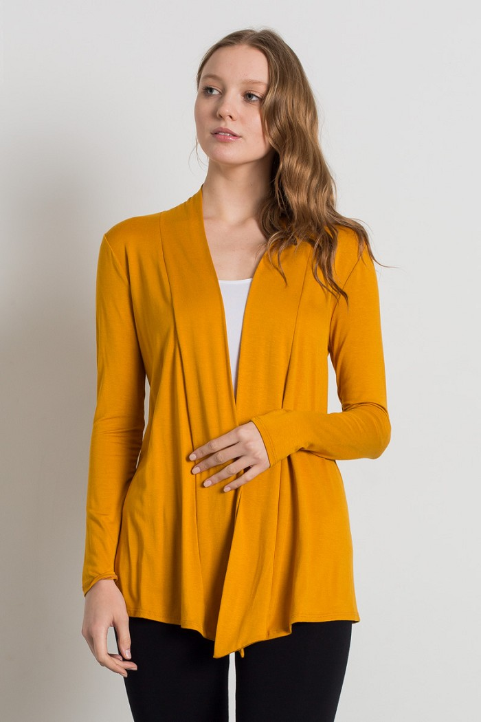 Solid Open Front Asymmetric Hem Draped Knit Cardigan