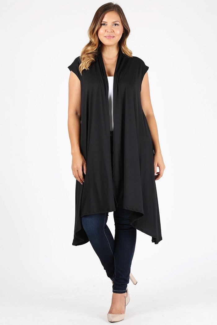 Plus Size Solid Color Long Body Cardigan