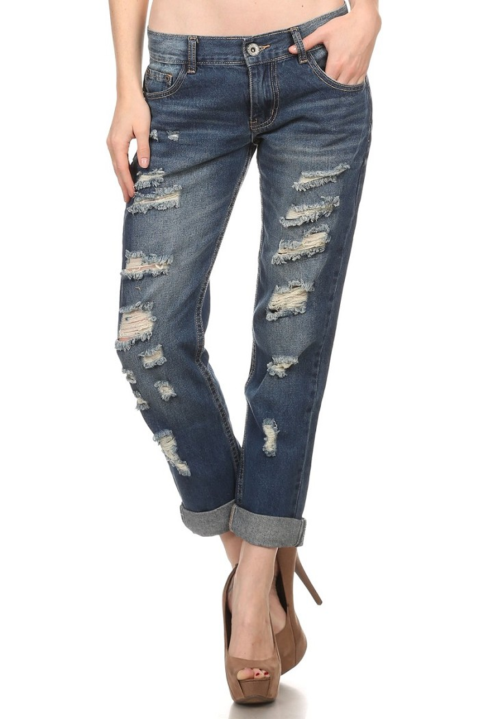Mid Rise Boyfriend Ripped Stretch Skinny Jeans