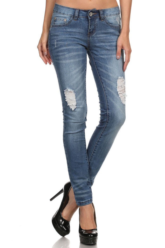 Distressed Cotton Denim Jeans