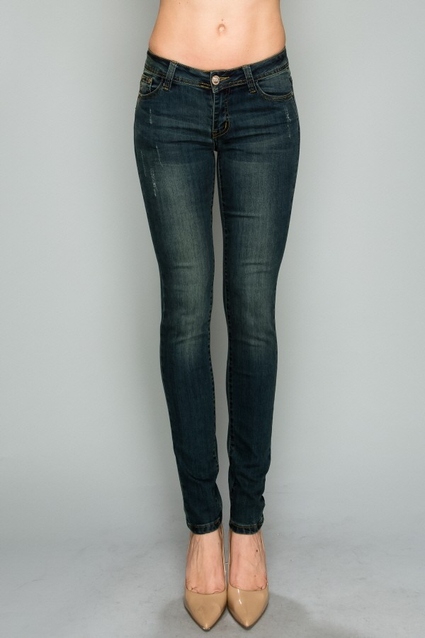 Blue Mid Rise Solid Stretch Skinny Cotton Denim  Jeans