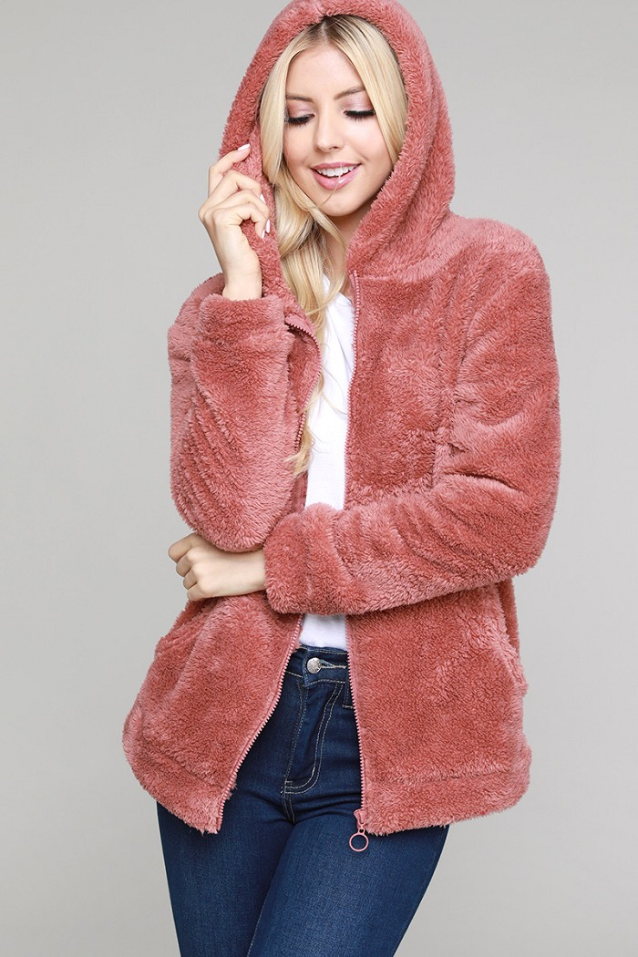 Faux Fur Teddy Bear Zip Up Hoodie Jacket