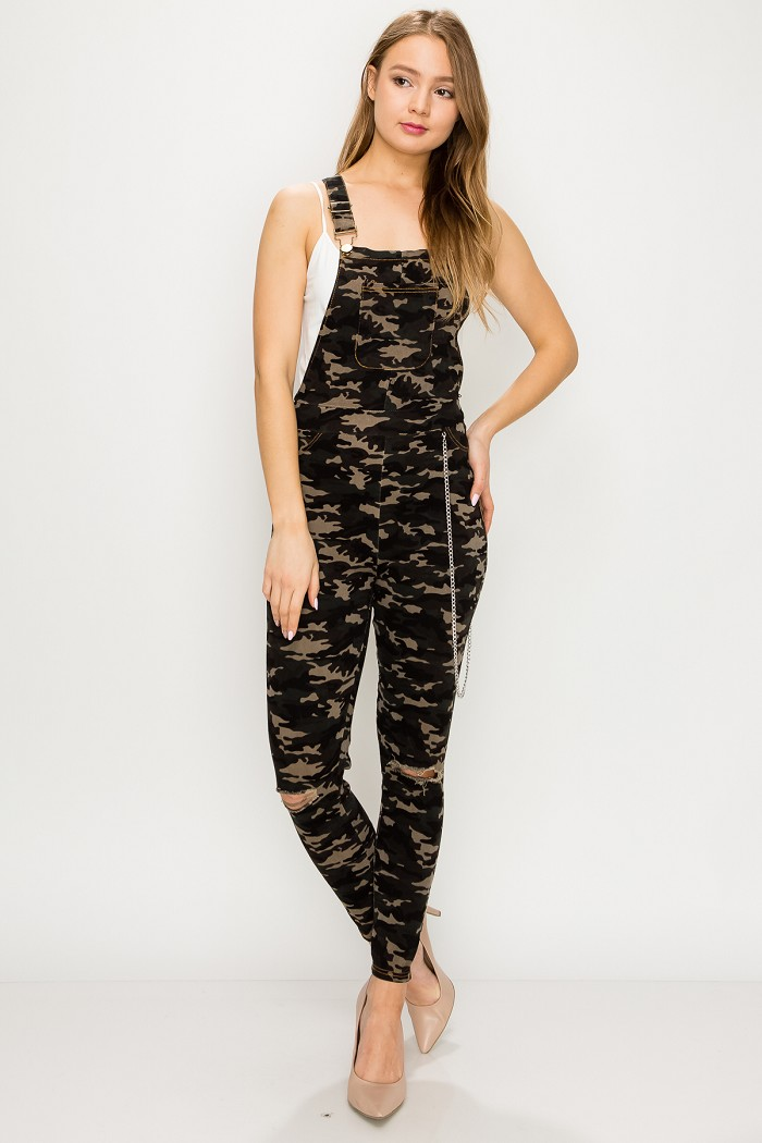 Army Camouflage Print Fitted Distressed Skinny Chain Overalls
