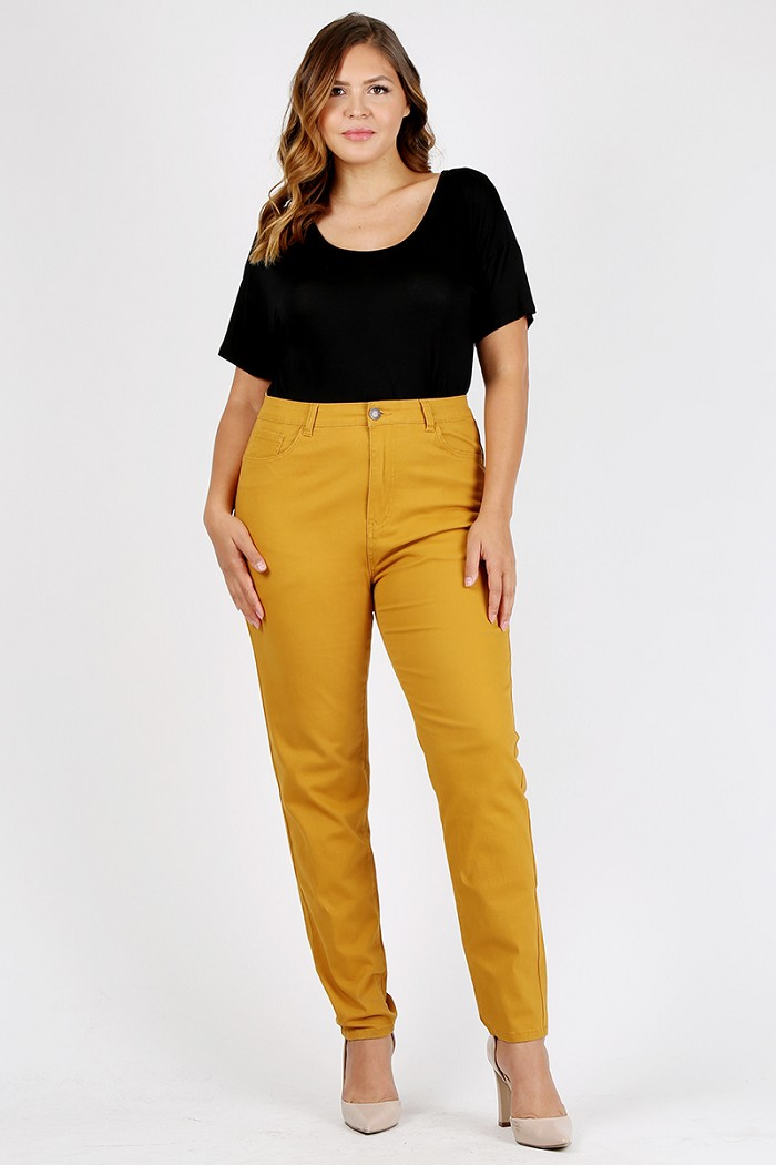 Plus Size High Waist Solid colored Stretch Twill Cotton Pants