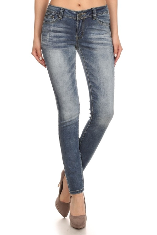 Mid Rise Solid Washed Skinny Cotton Denim Jeans