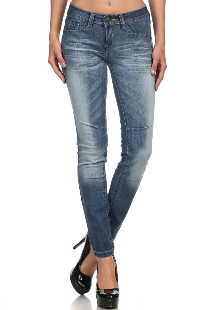 Mid Rise Solid Washed Stretch Skinny Cotton Denim Jeans