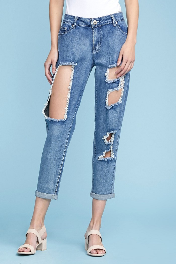 Mid Rise Cutout Ripped Stretch Skinny Jeans