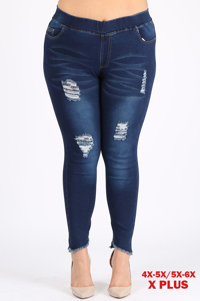4X to 6X Plus Size Pull-on Super Stretch distressed Jeggings