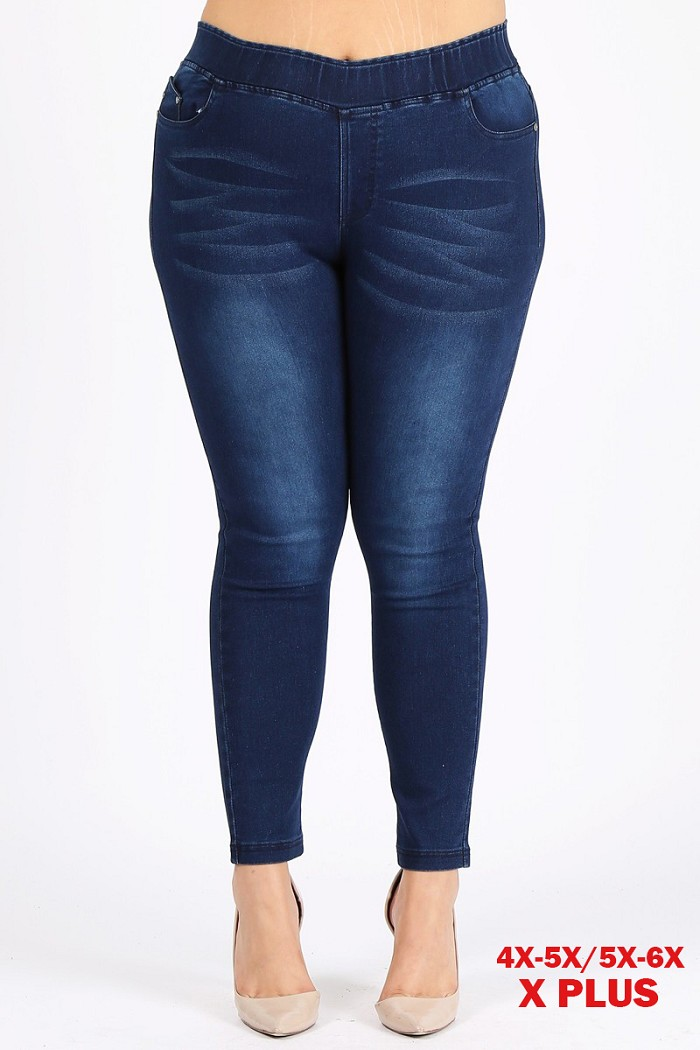 4X to 6X Plus Size Pull-on Super Stretch whiskered wash Jeggings