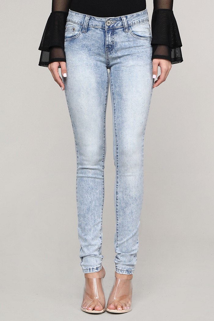 Mid Rise Washed Skinny Cotton Denim Jeans