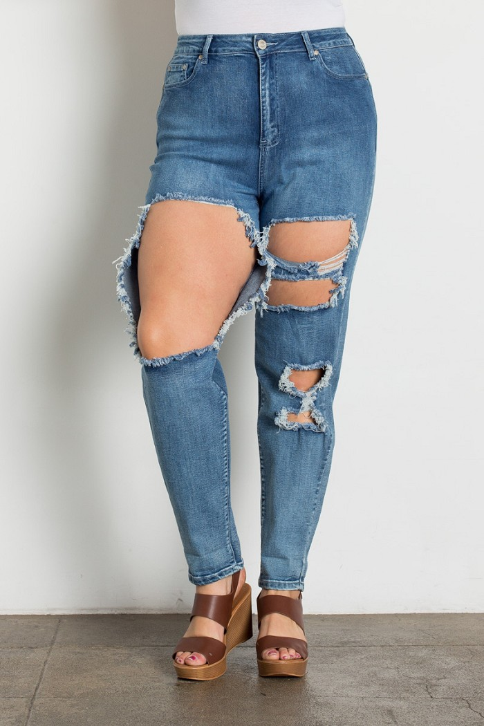 Plus Size High Waist Distressed Boyfriend Jeans