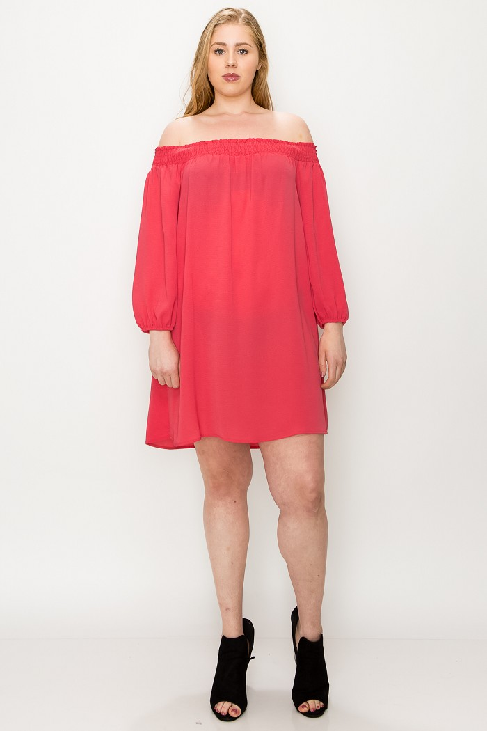 PLUS SIZE KOSHIBO OFF SHOULDER TUNIC DRESS