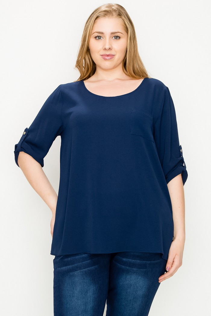 PLUS SIZE ROLL UP SLEEVE HI LOW WOVEN TUNIC TOP